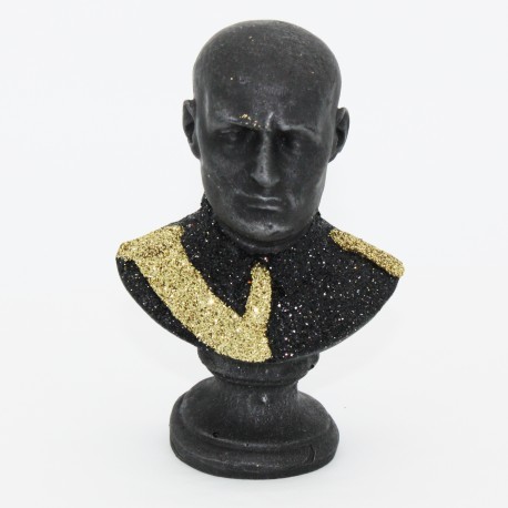 Miniatura busto di Mussolini in lava