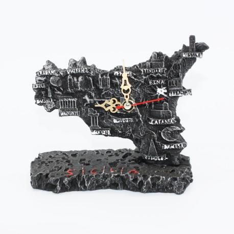 Orologio forma Sicilia in lava