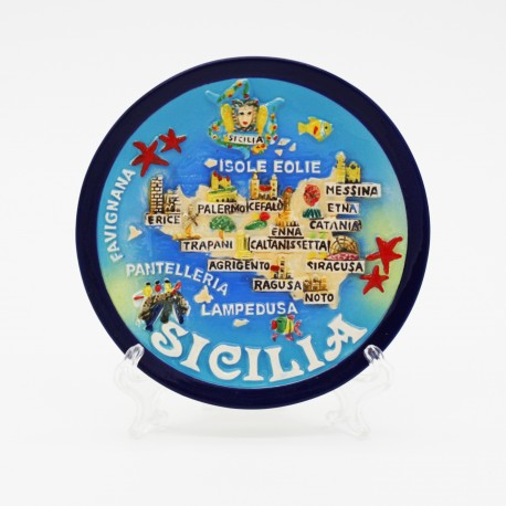 Piattino con bordo blu Sicilia - Piccolo